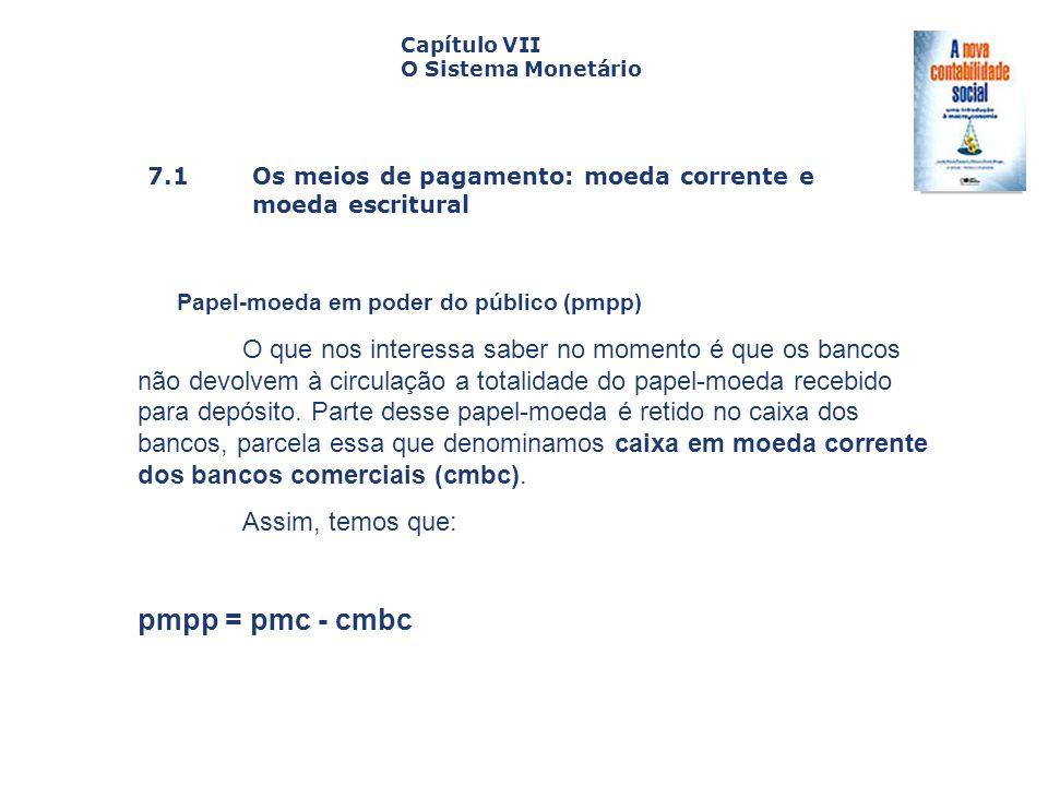7.1 Os meios de pagamento: moeda corrente e moeda escritural Capa da Obra Capítulo VII O Sistema Monetário Papel-moeda em poder do público (pmpp) O qu