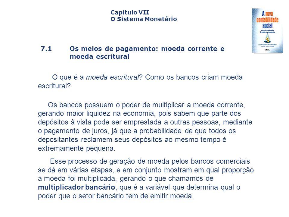 7.1 Os meios de pagamento: moeda corrente e moeda escritural Capa da Obra Capítulo VII O Sistema Monetário O que é a moeda escritural? Como os bancos