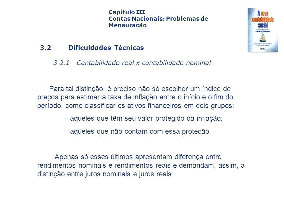 3.2 Dificuldades Técnicas 3.2.1 Contabilidade real x contabilidade nominal Capa da Obra Capítulo III Contas Nacionais: Problemas de Mensuração Para ta