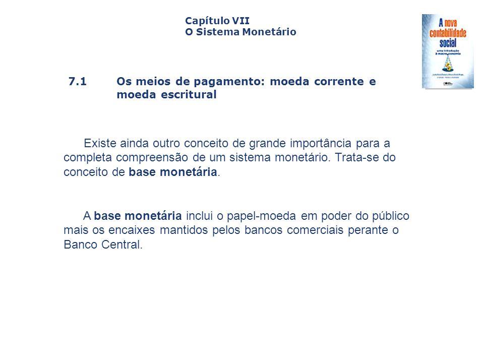 7.1 Os meios de pagamento: moeda corrente e moeda escritural Capa da Obra Capítulo VII O Sistema Monetário Existe ainda outro conceito de grande impor
