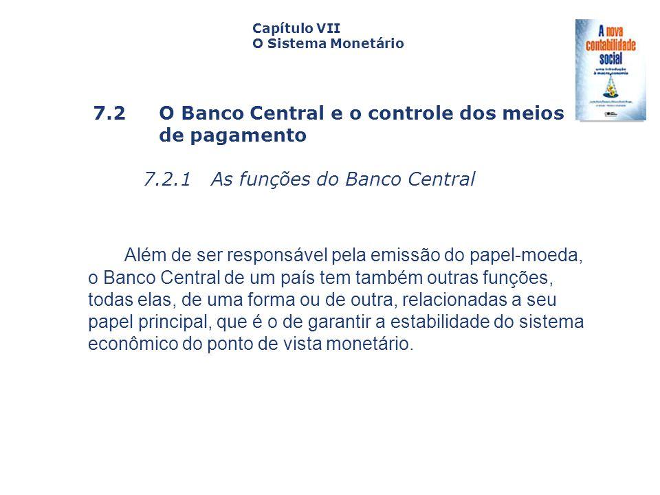 7.2 O Banco Central e o controle dos meios de pagamento 7.2.1 As funções do Banco Central Capa da Obra Capítulo VII O Sistema Monetário Além de ser re