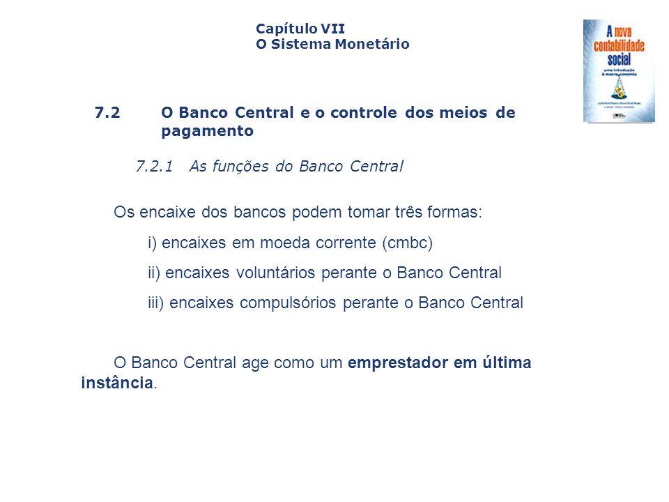 7.2 O Banco Central e o controle dos meiosde pagamento 7.2.1 As funções do Banco Central Capa da Obra Capítulo VII O Sistema Monetário Os encaixe dos