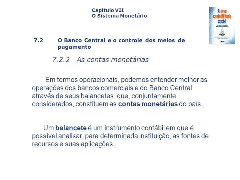 7.2 O Banco Central e o controle dos meiosde pagamento 7.2.2 As contas monetárias Capa da Obra Capítulo VII O Sistema Monetário Em termos operacionais