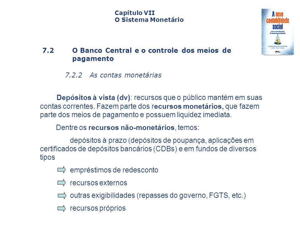 7.2 O Banco Central e o controle dos meiosde pagamento 7.2.2 As contas monetárias Capa da Obra Capítulo VII O Sistema Monetário Depósitos à vista (dv)