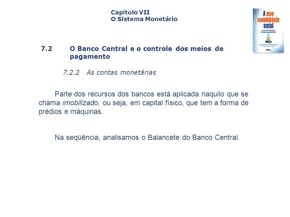 7.2 O Banco Central e o controle dos meiosde pagamento 7.2.2 As contas monetárias Capa da Obra Capítulo VII O Sistema Monetário Parte dos recursos dos
