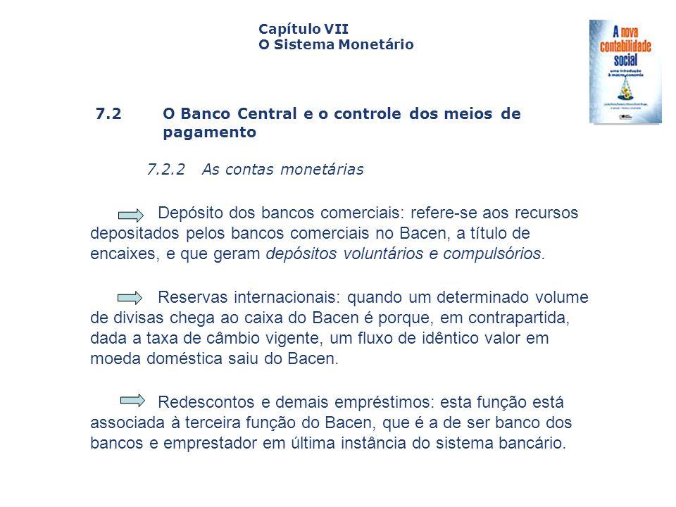 7.2 O Banco Central e o controle dos meiosde pagamento 7.2.2 As contas monetárias Capa da Obra Capítulo VII O Sistema Monetário Depósito dos bancos co