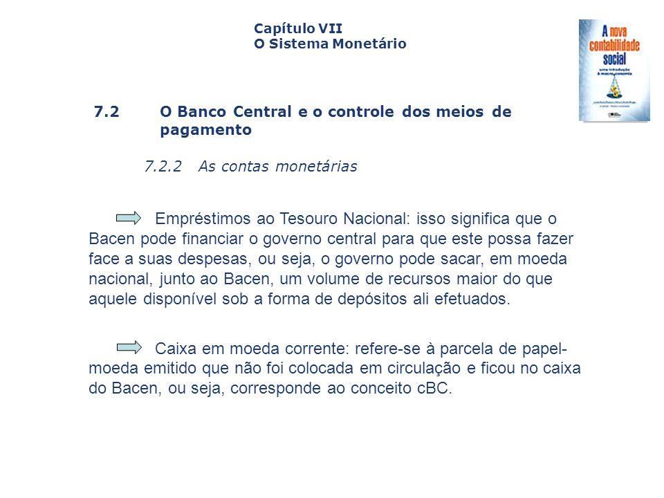 7.2 O Banco Central e o controle dos meiosde pagamento 7.2.2 As contas monetárias Capa da Obra Capítulo VII O Sistema Monetário Empréstimos ao Tesouro
