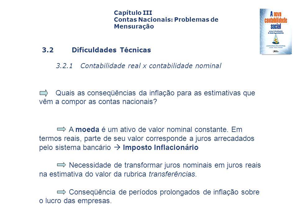 3.2 Dificuldades Técnicas 3.2.1 Contabilidade real x contabilidade nominal Capa da Obra Capítulo III Contas Nacionais: Problemas de Mensuração Quais a
