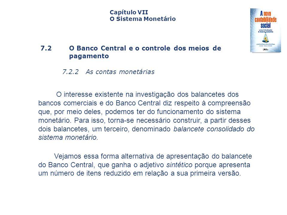 7.2 O Banco Central e o controle dos meiosde pagamento 7.2.2 As contas monetárias Capa da Obra Capítulo VII O Sistema Monetário O interesse existente