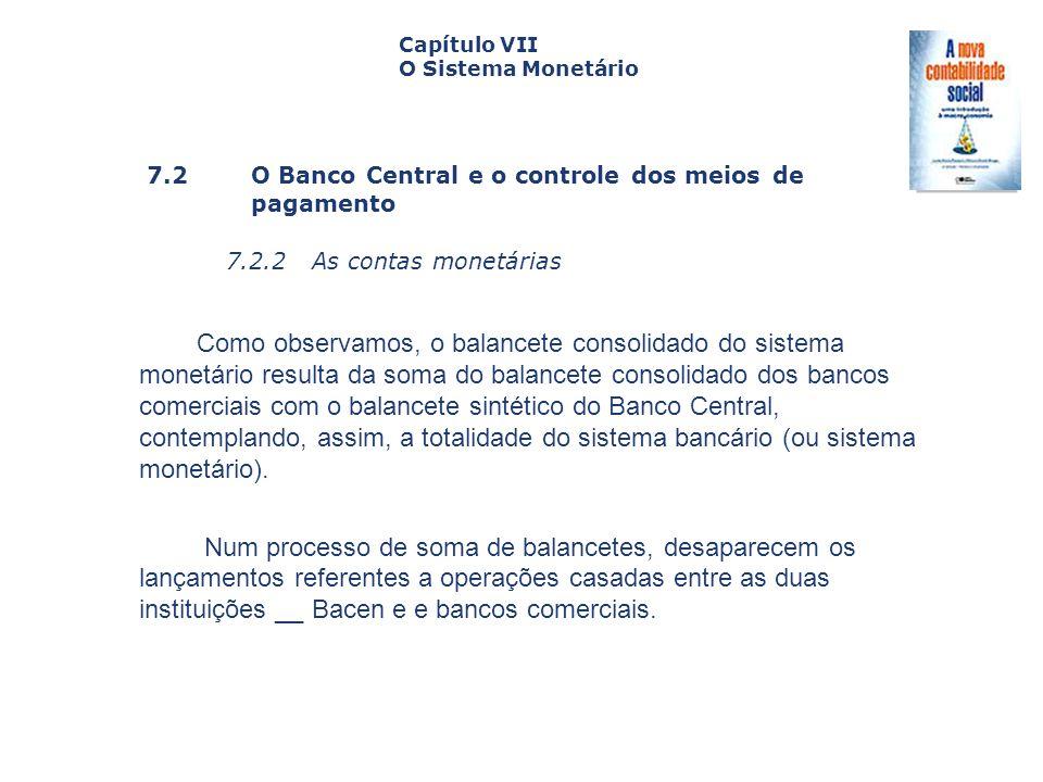 7.2 O Banco Central e o controle dos meiosde pagamento 7.2.2 As contas monetárias Capa da Obra Capítulo VII O Sistema Monetário Como observamos, o bal