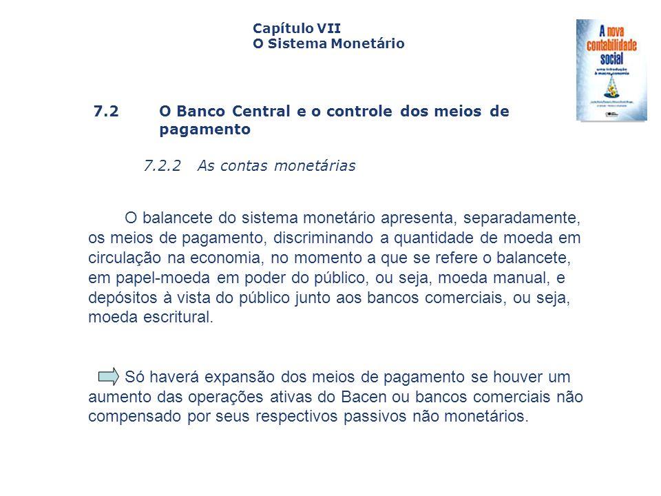 7.2 O Banco Central e o controle dos meiosde pagamento 7.2.2 As contas monetárias Capa da Obra Capítulo VII O Sistema Monetário O balancete do sistema