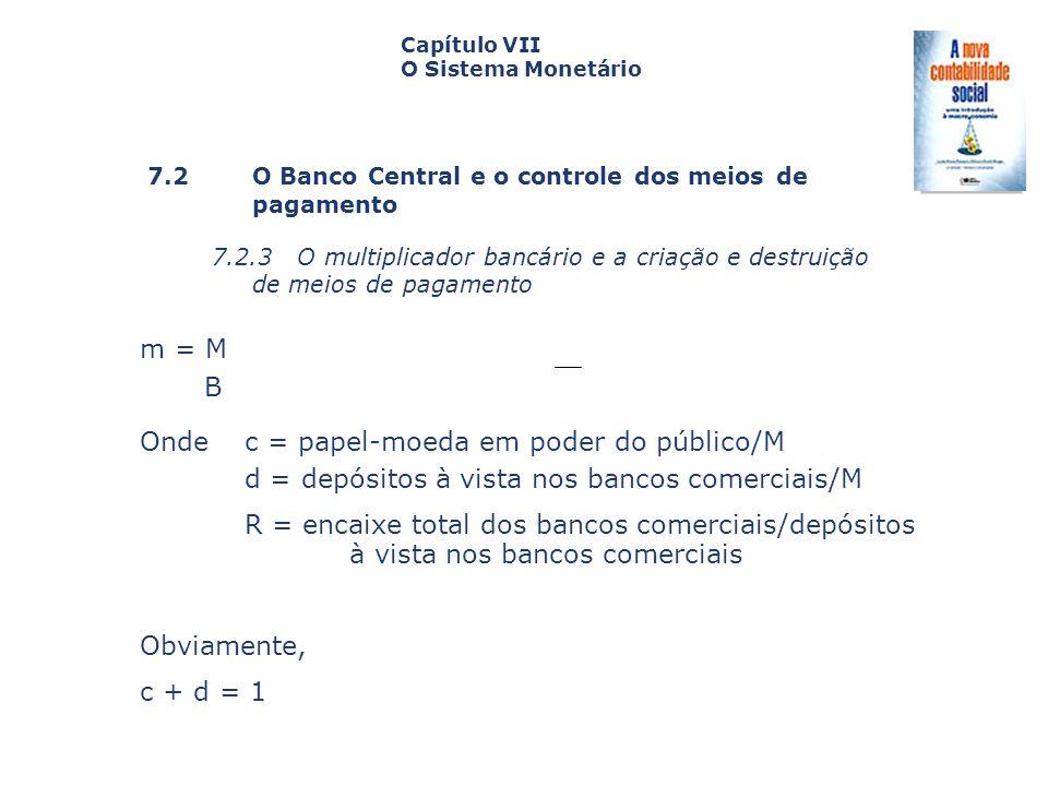 7.2 O Banco Central e o controle dos meiosde pagamento 7.2.3 O multiplicador bancário e a criação e destruição de meios de pagamento Capa da Obra Capí