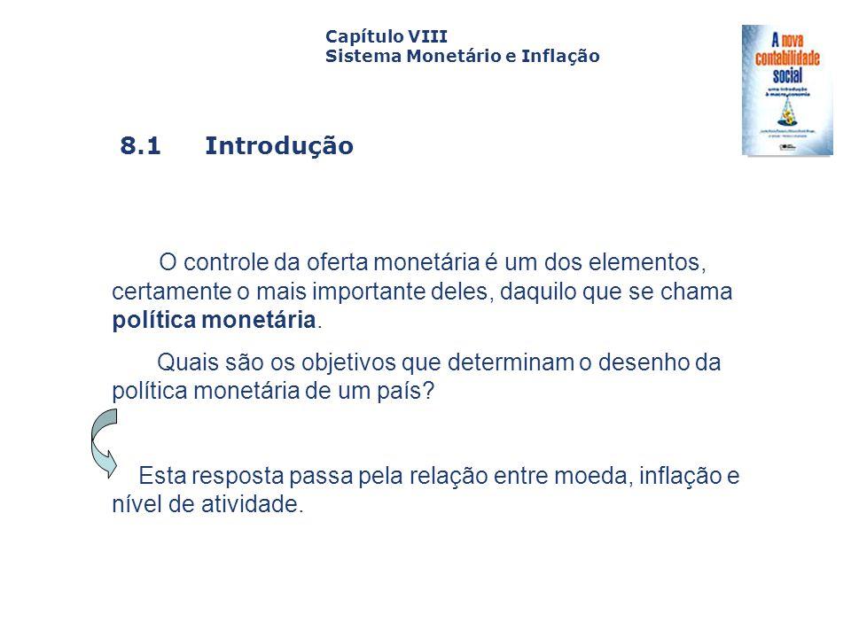 8.1 Introdução Capa da Obra Capítulo VIII Sistema Monetário e Inflação O controle da oferta monetária é um dos elementos, certamente o mais importante