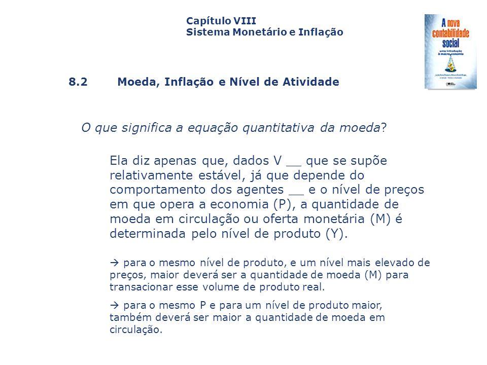 8.2 Moeda, Inflação e Nível de Atividade Capa da Obra Capítulo VIII Sistema Monetário e Inflação O que significa a equação quantitativa da moeda? Ela
