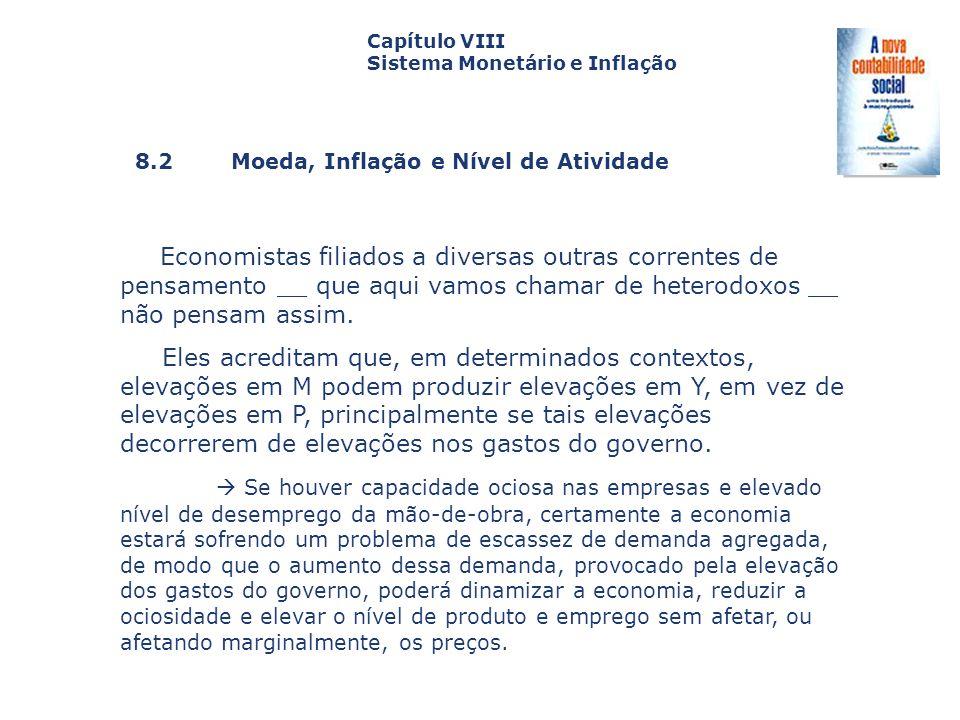 8.2 Moeda, Inflação e Nível de Atividade Capa da Obra Capítulo VIII Sistema Monetário e Inflação Economistas filiados a diversas outras correntes de p