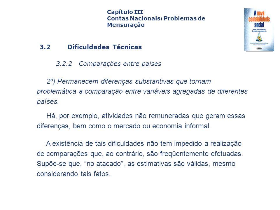 3.2 Dificuldades Técnicas 3.2.2 Comparações entre países Capa da Obra Capítulo III Contas Nacionais: Problemas de Mensuração 2º) Permanecem diferenças