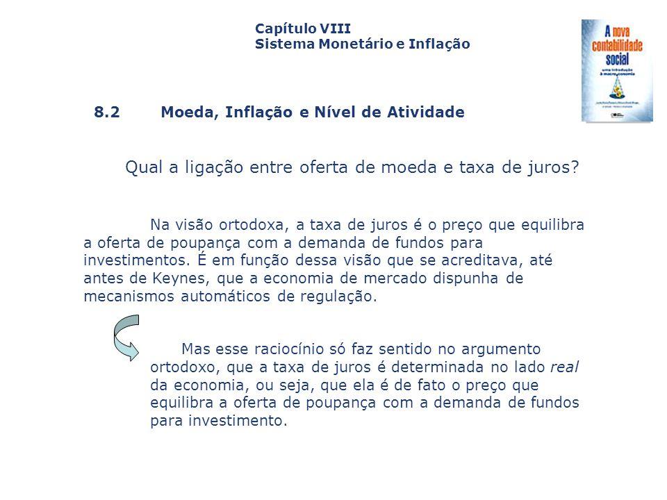 8.2 Moeda, Inflação e Nível de Atividade Capa da Obra Capítulo VIII Sistema Monetário e Inflação Qual a ligação entre oferta de moeda e taxa de juros?