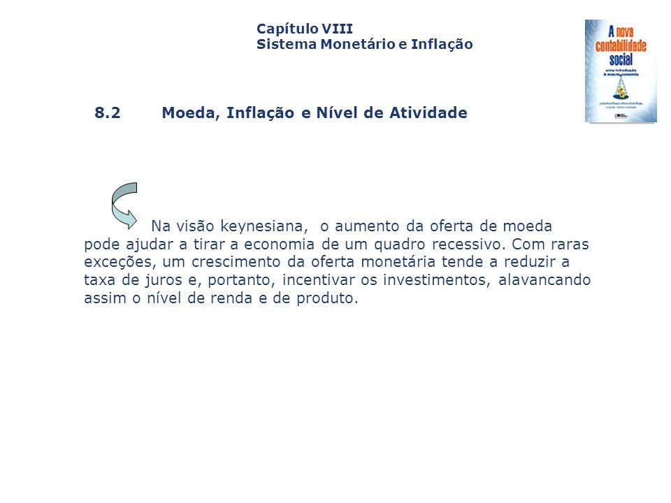 8.2 Moeda, Inflação e Nível de Atividade Capa da Obra Capítulo VIII Sistema Monetário e Inflação Na visão keynesiana, o aumento da oferta de moeda pod