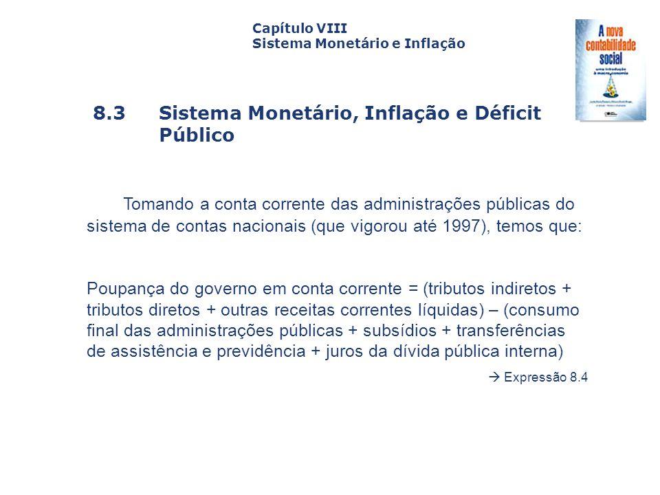 8.3 Sistema Monetário, Inflação e Déficit Público Capa da Obra Capítulo VIII Sistema Monetário e Inflação Tomando a conta corrente das administrações