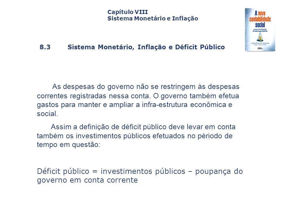 8.3 Sistema Monetário, Inflação e Déficit Público Capa da Obra Capítulo VIII Sistema Monetário e Inflação As despesas do governo não se restringem às
