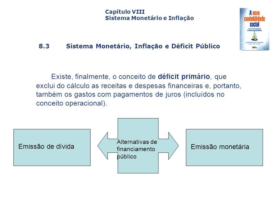 8.3 Sistema Monetário, Inflação e Déficit Público Capa da Obra Capítulo VIII Sistema Monetário e Inflação Existe, finalmente, o conceito de déficit pr