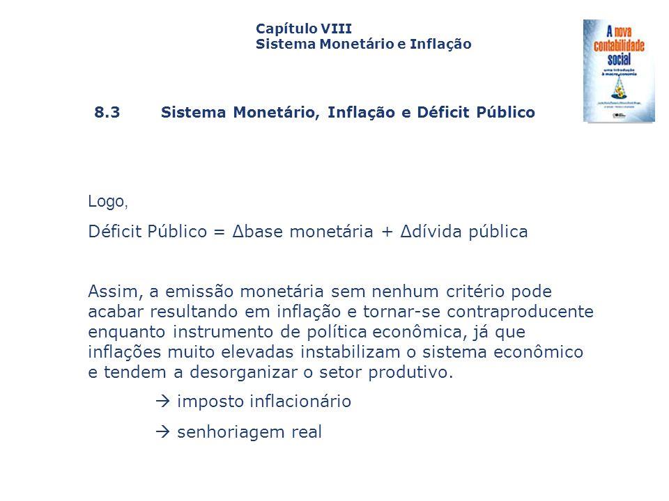 8.3 Sistema Monetário, Inflação e Déficit Público Capa da Obra Capítulo VIII Sistema Monetário e Inflação Logo, Déficit Público = base monetária + dív