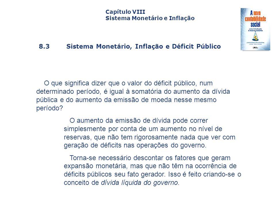 8.3 Sistema Monetário, Inflação e Déficit Público Capa da Obra Capítulo VIII Sistema Monetário e Inflação O que significa dizer que o valor do déficit