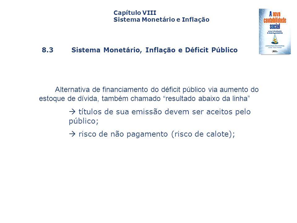 8.3 Sistema Monetário, Inflação e Déficit Público Capa da Obra Capítulo VIII Sistema Monetário e Inflação Alternativa de financiamento do déficit públ