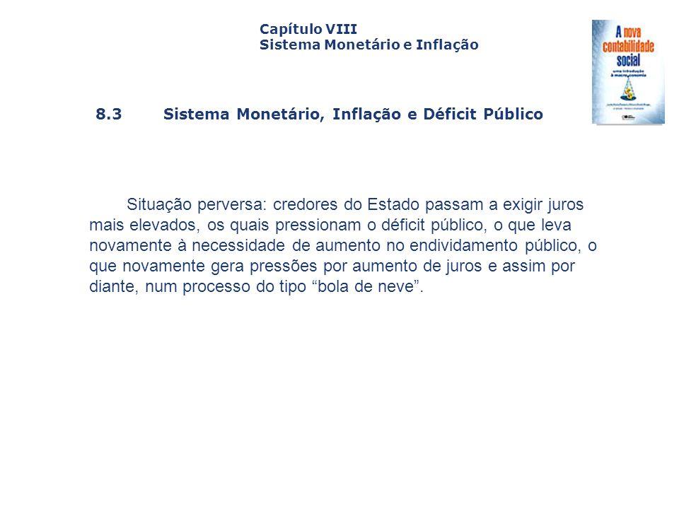 8.3 Sistema Monetário, Inflação e Déficit Público Capa da Obra Capítulo VIII Sistema Monetário e Inflação Situação perversa: credores do Estado passam
