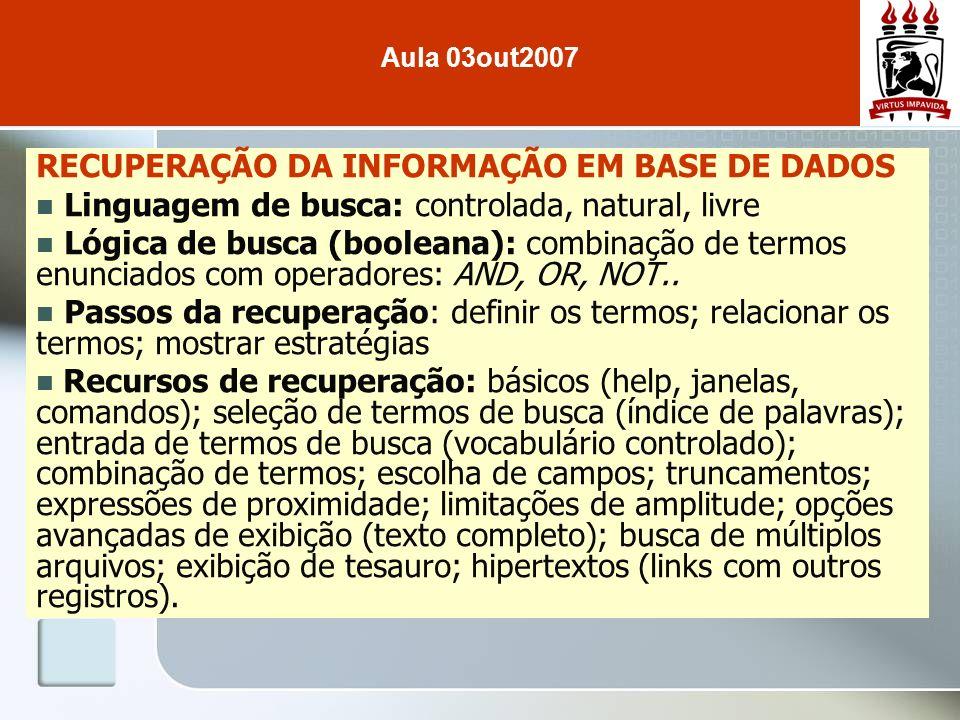 RECUPERAÇÃO DA INFORMAÇÃO EM BASE DE DADOS Linguagem de busca: controlada, natural, livre Lógica de busca (booleana): combinação de termos enunciados
