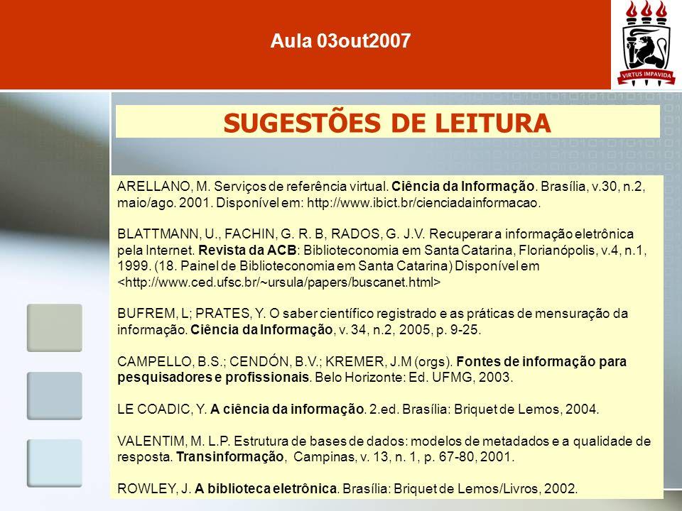 SUGESTÕES DE LEITURA Aula 03out2007 ARELLANO, M. Serviços de referência virtual. Ciência da Informação. Brasília, v.30, n.2, maio/ago. 2001. Disponíve