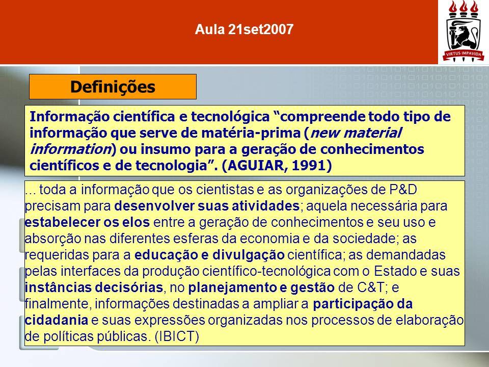 Definições Informação científica e tecnológica compreende todo tipo de informação que serve de matéria-prima (new material information) ou insumo para