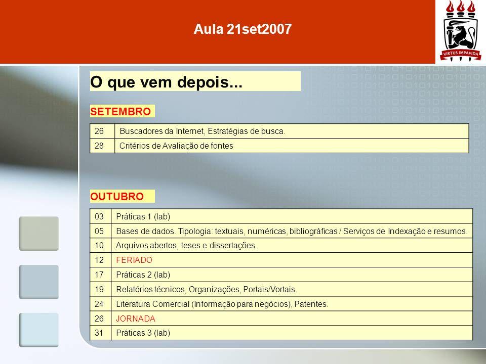 Aula 21set2007 O que vem depois... SETEMBRO 26Buscadores da Internet, Estratégias de busca. 28Critérios de Avaliação de fontes 03Práticas 1 (lab) 05Ba