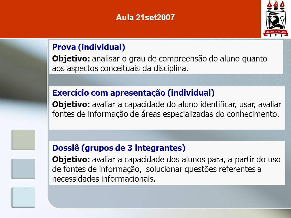 Prova (individual) Objetivo: analisar o grau de compreensão do aluno quanto aos aspectos conceituais da disciplina. Exercício com apresentação (indivi