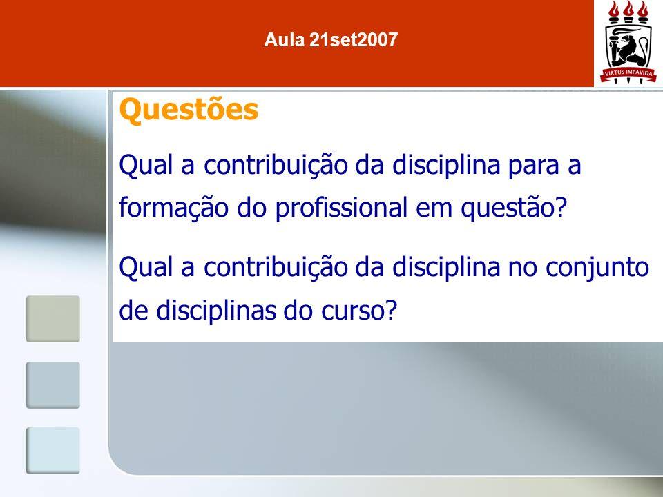 Questões Qual a contribuição da disciplina para a formação do profissional em questão? Qual a contribuição da disciplina no conjunto de disciplinas do