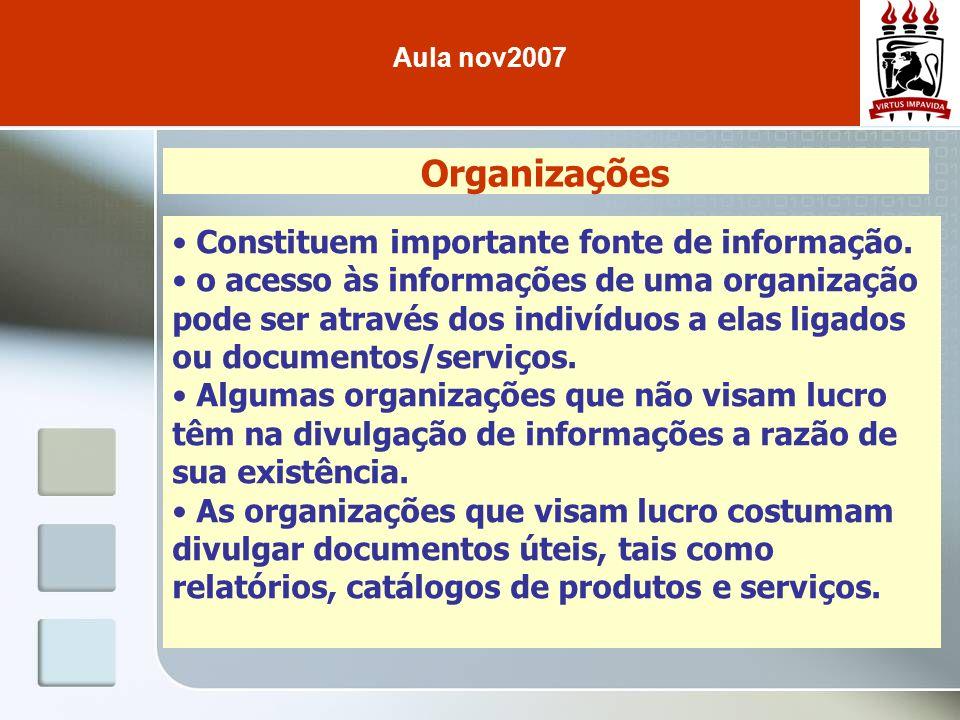 Organizações Constituem importante fonte de informação. o acesso às informações de uma organização pode ser através dos indivíduos a elas ligados ou d