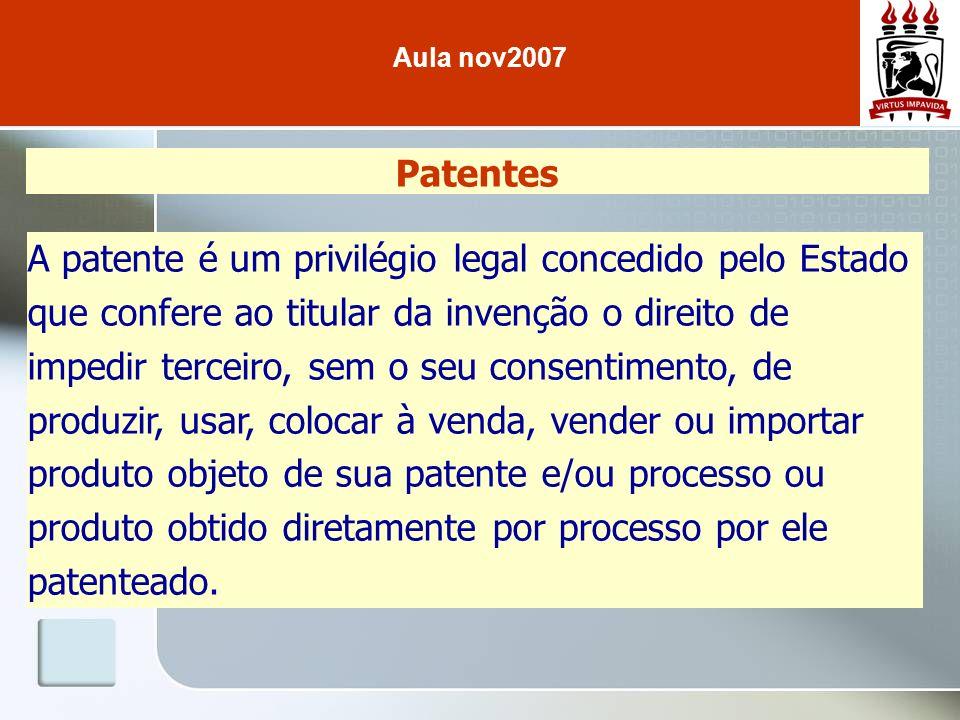 Patentes A patente é um privilégio legal concedido pelo Estado que confere ao titular da invenção o direito de impedir terceiro, sem o seu consentimen