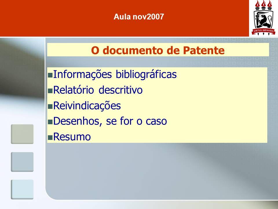 O documento de Patente Informações bibliográficas Relatório descritivo Reivindicações Desenhos, se for o caso Resumo Aula nov2007