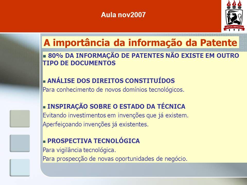 A importância da informação da Patente 80% DA INFORMAÇÃO DE PATENTES NÃO EXISTE EM OUTRO TIPO DE DOCUMENTOS ANÁLISE DOS DIREITOS CONSTITUÍDOS Para con