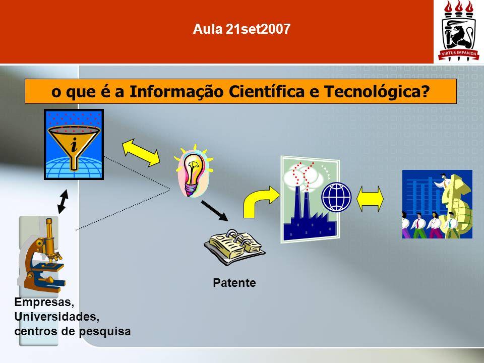 o que é a Informação Científica e Tecnológica? Empresas, Universidades, centros de pesquisa Patente Aula 21set2007