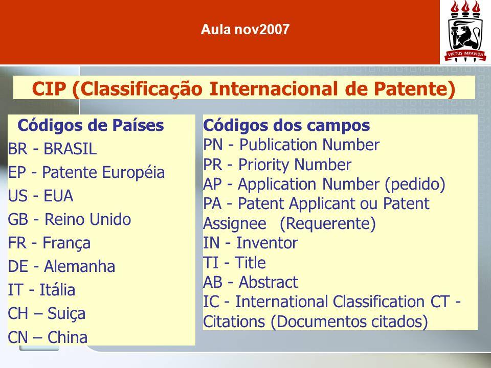 CIP (Classificação Internacional de Patente) Códigos de Países BR - BRASIL EP - Patente Européia US - EUA GB - Reino Unido FR - França DE - Alemanha I