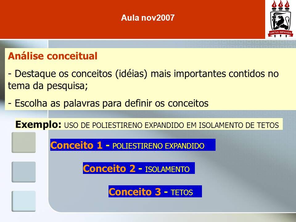 Análise conceitual - Destaque os conceitos (idéias) mais importantes contidos no tema da pesquisa; - Escolha as palavras para definir os conceitos Exe