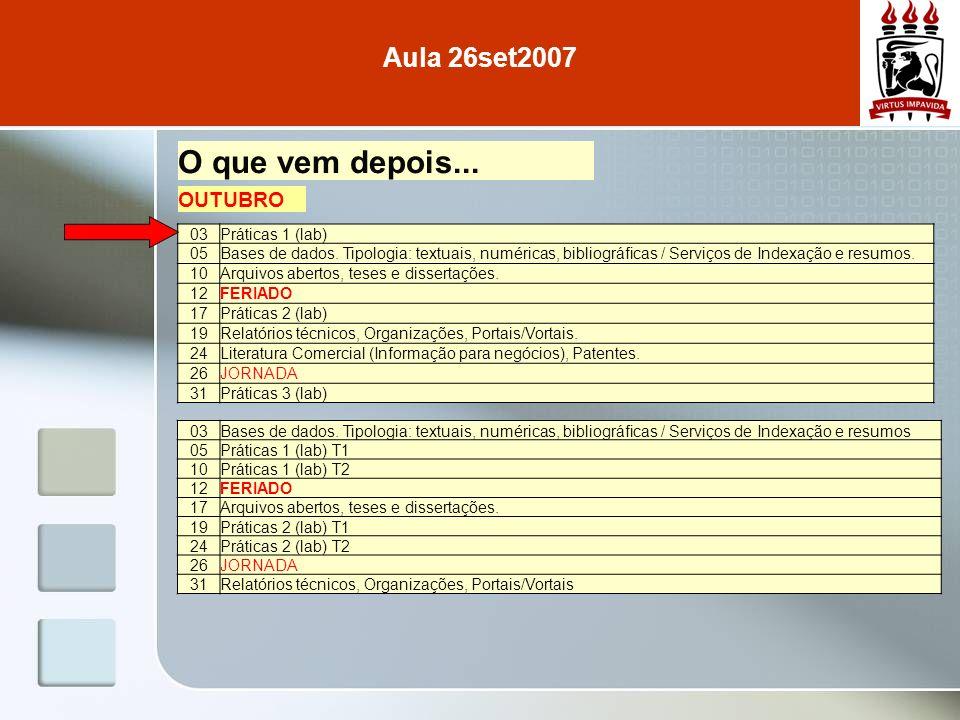 Aula 26set2007 O que vem depois... 03Práticas 1 (lab) 05Bases de dados. Tipologia: textuais, numéricas, bibliográficas / Serviços de Indexação e resum