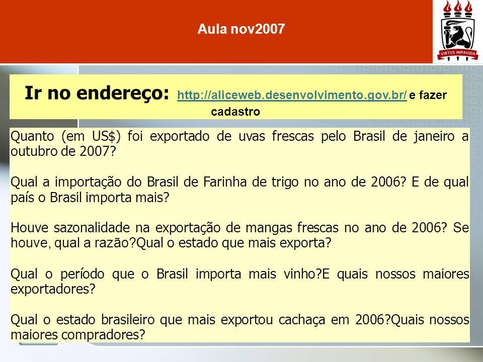 Ir no endereço: http://radarcomercial.desenvolvimento.gov.br/radar/ http://radarcomercial.desenvolvimento.gov.br/radar/ fazer cadastro Aula nov2007 Qual a representatividade do Brasil nas importações da Alemanha em 2005.