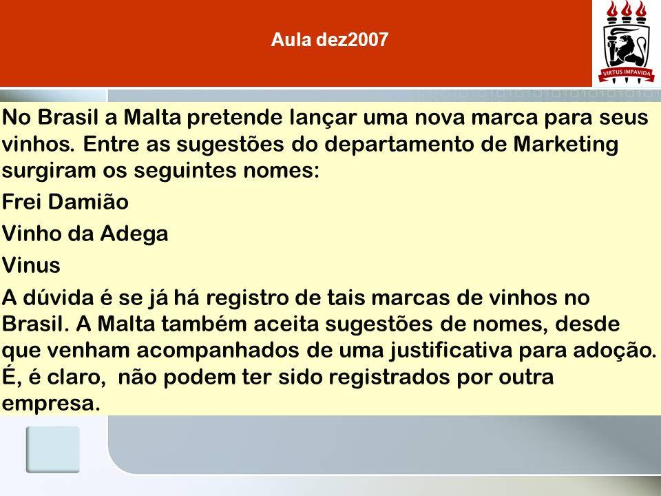 No Brasil a Malta pretende lançar uma nova marca para seus vinhos. Entre as sugestões do departamento de Marketing surgiram os seguintes nomes: Frei D