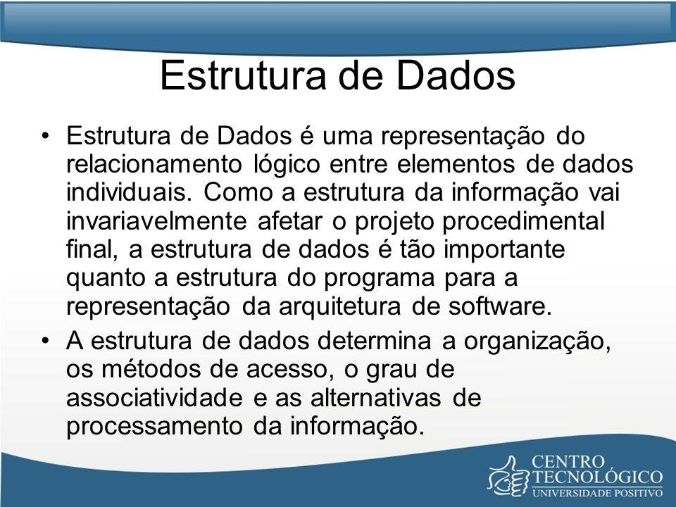 Estrutura de Dados Estrutura de Dados é uma representação do relacionamento lógico entre elementos de dados individuais. Como a estrutura da informaçã