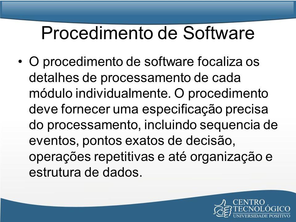 Procedimento de Software O procedimento de software focaliza os detalhes de processamento de cada módulo individualmente. O procedimento deve fornecer