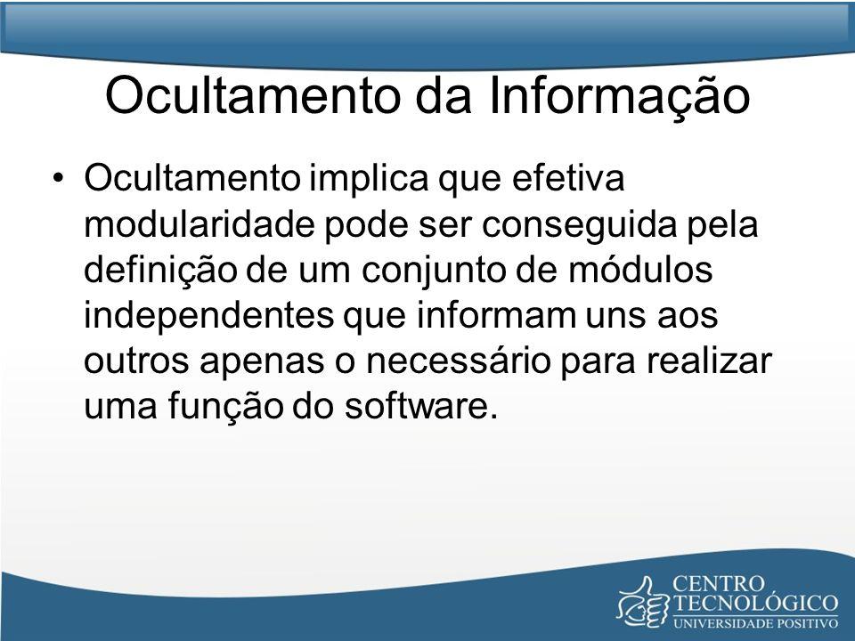 Ocultamento da Informação Ocultamento implica que efetiva modularidade pode ser conseguida pela definição de um conjunto de módulos independentes que