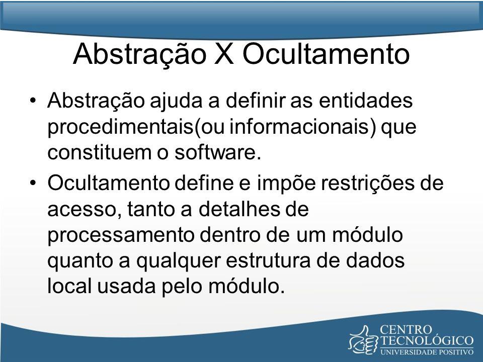 Abstração X Ocultamento Abstração ajuda a definir as entidades procedimentais(ou informacionais) que constituem o software. Ocultamento define e impõe