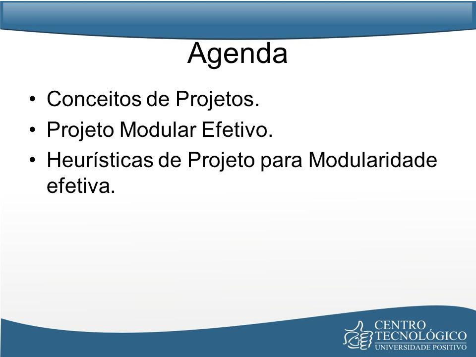 Agenda Conceitos de Projetos. Projeto Modular Efetivo. Heurísticas de Projeto para Modularidade efetiva.